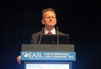 Edward Gane of Auckland Clinical Studies, New Zealand, presenting at EASL 2014; photo by Liz Highleyman, hivandhepatitis.com