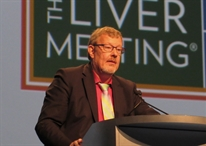 Jürgen Rockstroh, speaking at the American Association for the Study of Liver Diseases (AASLD) Liver Meeting. Photo by Liz Highleyman, hivandhepatitis.com.