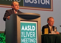 Marc Bourliere speaking at the American Association for the Study of Liver Diseases (AASLD) Liver Meeting. Photo by Liz Highleyman, hivandhepatitis.com.