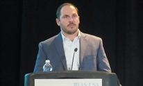 Erik Mogalian presenting at CROI 2016. Photo by Liz Highleyman, hivandhepatitis.com