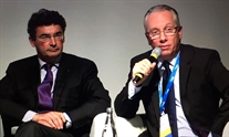 Laurent Castera and Jean-Michel Pawlotsky present the 2016 EASL treatment guidelines. Photo by Liz Highleyman, hivandhepatitis.com