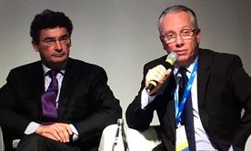 Laurent Castera and Jean-Michel Pawlotsky present the 2016 EASL treatment guidelines. Photo by Liz Highleyman, hivandhepatitis.com