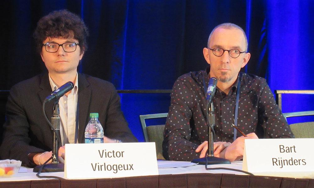 Victor Virlogeux and Bart Rijnders at CROI 2017. Photo by Liz Highleyman, hivandhepatitis.com