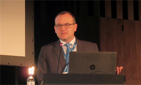 Markus Cornberg presenting the studies at a press conference at The International Liver Congress, 2018. Photo by Liz Highleyman.