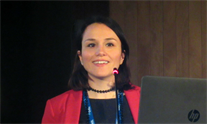 Chiara Mazzarelli, one of the study researchers, at The International Liver Congress, 2018. Photo by Liz Highleyman.