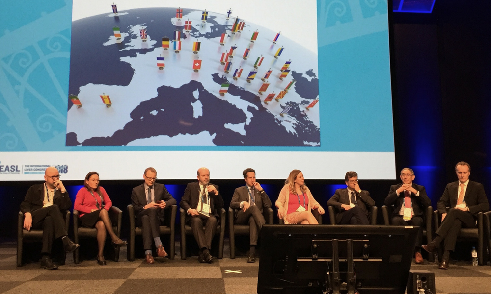 The EASL hepatitis C treatment guidelines panel at The International Liver Congress, 2018. Photo by Liz Highleyman.